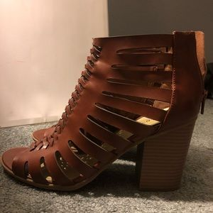 Strapped, heeled, Brown booties! Size 8.